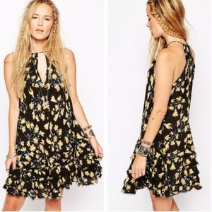 Free People Floral Ruffled Feather Mini Slip Dress